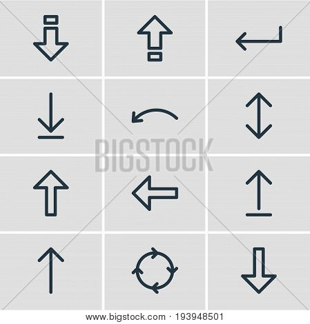 Vector Illustration Of 12 Direction Icons. Editable Pack Of Up, Direction, Down And Other Elements.