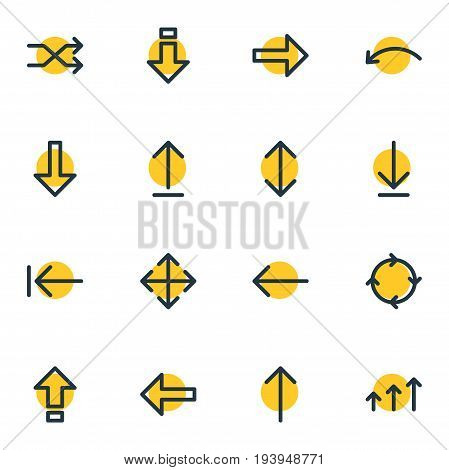 Vector Illustration Of 16 Direction Icons. Editable Pack Of Tab , Widen, Randomize Elements.