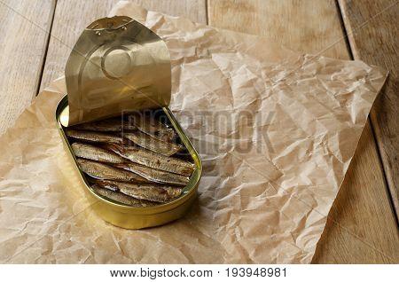 Opened Sprat Tin Can