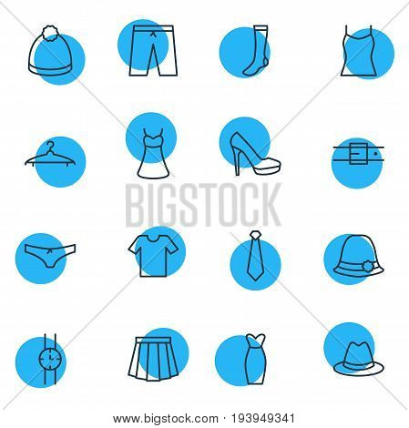 Vector Illustration Of 16 Clothes Icons. Editable Pack Of Hosiery, Fedora, Strap And Other Elements.