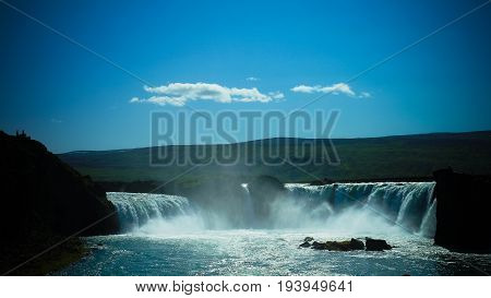 Panorama view to Godafoss waterfall at Iceland