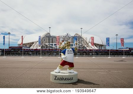 Sochi, Russia - June 18, 2017: Mascot Of The 2018 World Cup Zabivaka In Front Of The Stadium