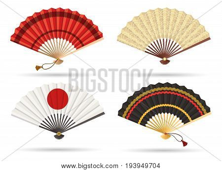 Oriental japan fan set isolated on white background. Traditional paper chinese or japanese geisha vector folding fans