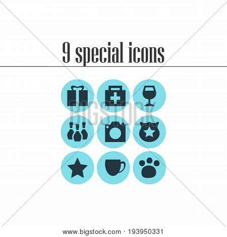Vector Illustration Of 9 Travel Icons. Editable Pack Of Pet Shop, Bookmark, Photo Device And Other Elements.