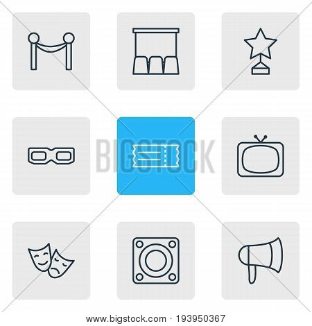Vector Illustration Of 9 Cinema Icons. Editable Pack Of Cinema Fence, Megaphone, Tv And Other Elements.