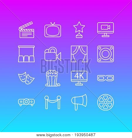 Vector Illustration Of 16 Film Icons. Editable Pack Of Movie Reel, Clapper, Spectacles And Other Elements.
