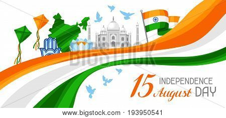 India Independence Day banner. Celebration 15 th of August.
