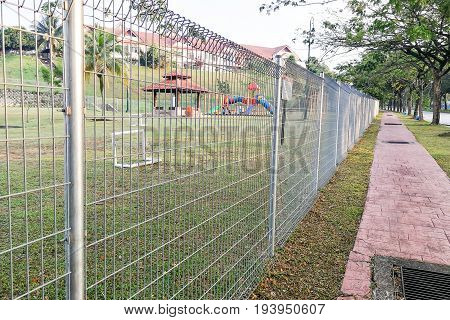 Security Fencing At Residential Home To Prevent Trespassing
