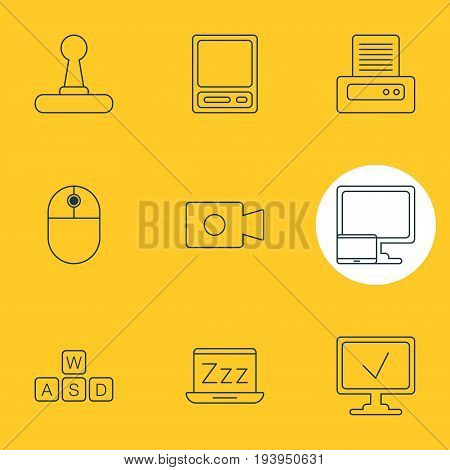 Vector Illustration Of 9 Laptop Icons. Editable Pack Of Movie Cam, Printer, Pda And Other Elements.