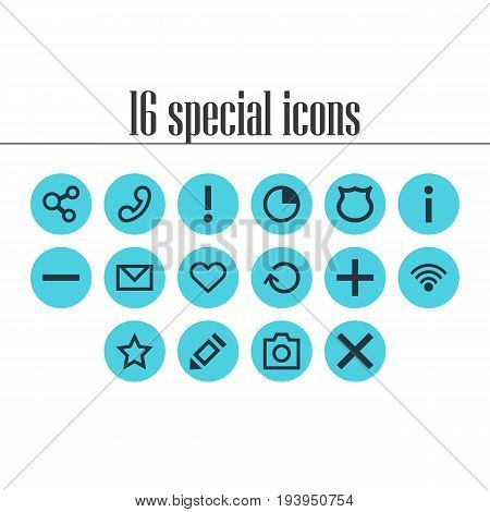 Vector Illustration Of 16 Member Icons. Editable Pack Of Plus, Publish, Stopwatch And Other Elements.