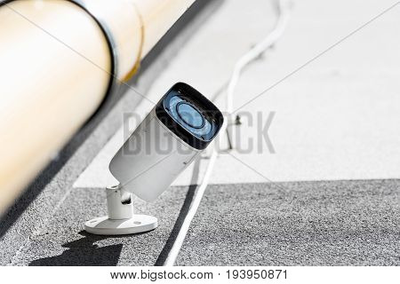 Bottom View Of One Security Camera On Wall, Security System Concept