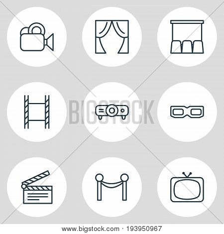 Vector Illustration Of 9 Movie Icons. Editable Pack Of Filmstrip, Spectacles, Slideshow And Other Elements.