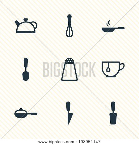 Vector Illustration Of 9 Kitchenware Icons. Editable Pack Of Teakettle, Corolla, Tablespoon And Other Elements.