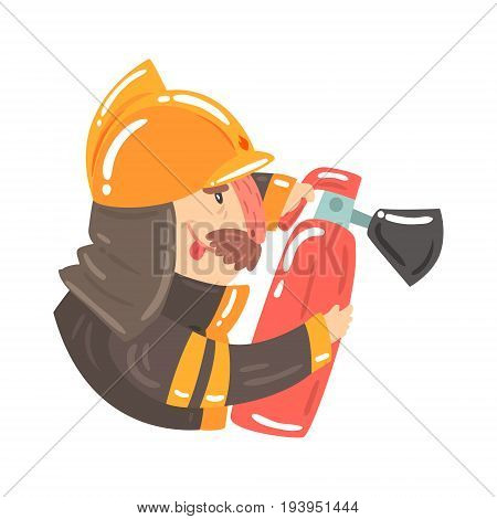 Firefighter in safety helmet and protective suit holding fire extinguisher, side view cartoon character vector Illustration isolated on a white background