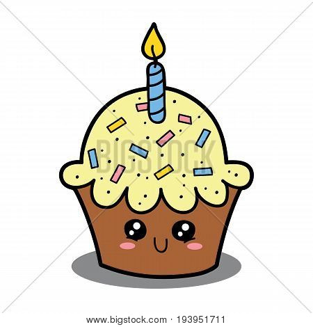 Vector illustration of cute cartoon cupcake character for children and scrap book