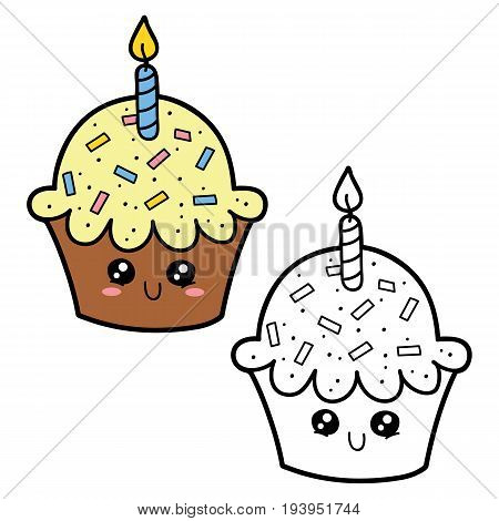 Vector illustration coloring page of happy cartoon cupcake for children, coloring and scrap book