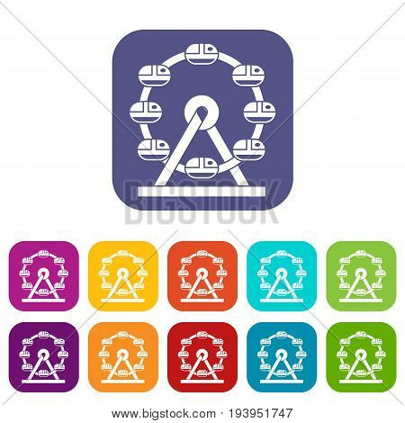 Giant ferris wheel icons set vector illustration in flat style In colors red, blue, green and other