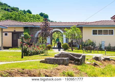 Philippi, Greece - April 30, 2016: Entrance to St. Lydia first European Christian, baptistry church in Lydia, Philippi