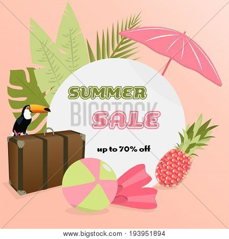 Summer Sale. Sign with Toucan, case, palms, pineapple and beach accessories in watermelon colors