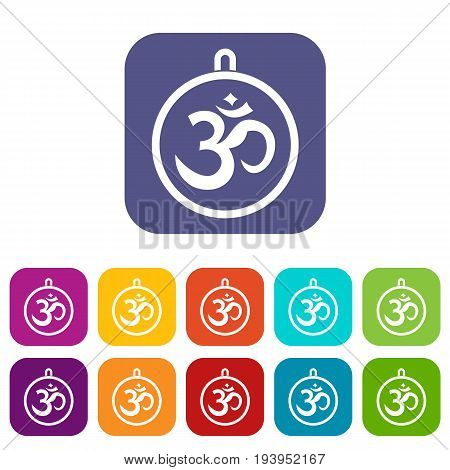 Indian coin icons set vector illustration in flat style In colors red, blue, green and other