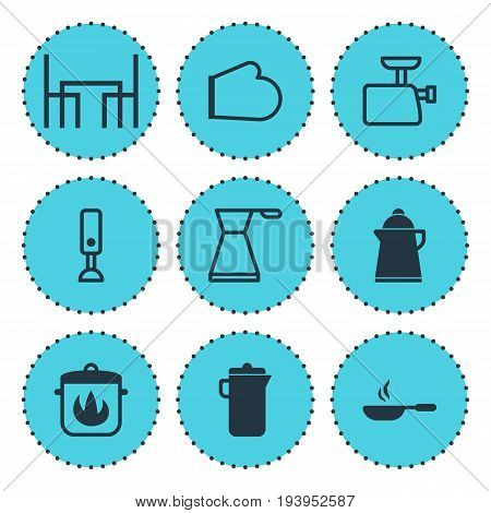 Vector Illustration Of 9 Cooking Icons. Editable Pack Of Dinner Table, Stewpot, Tea And Other Elements.