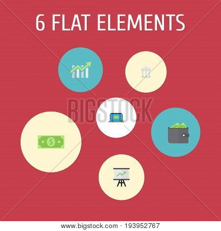 Flat Icons Bar Diagram, Billfold, Computer And Other Vector Elements. Set Of Finance Flat Icons Symbols Also Includes Notebook, Building, Growing Objects.
