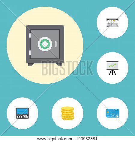 Flat Icons Growing Chart, Atm, Teller Machine And Other Vector Elements. Set Of Banking Flat Icons Symbols Also Includes Strongbox, Card, Secure Objects.