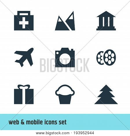 Vector Illustration Of 9 Travel Icons. Editable Pack Of Drugstore, Cake, Present And Other Elements.