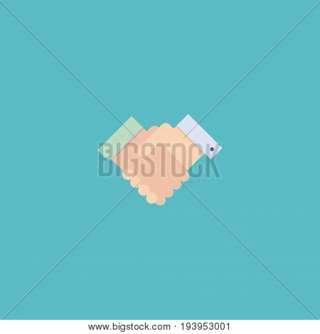Flat Icon Deal Element. Vector Illustration Of Flat Icon Handshake Isolated On Clean Background. Can Be Used As Deal, Handshake And Partnership Symbols.