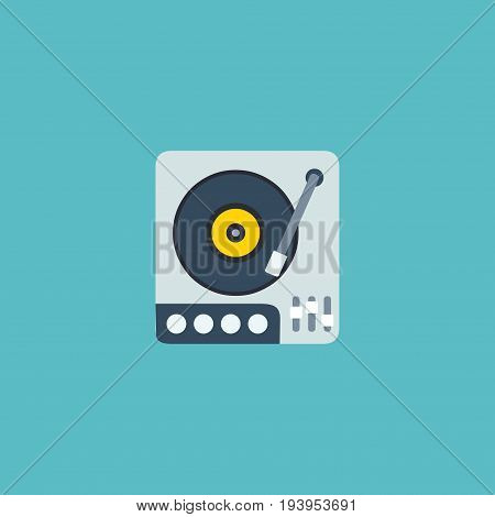 Flat Icon Gramophone Element. Vector Illustration Of Flat Icon Turntable Isolated On Clean Background. Can Be Used As Gramophone, Turntable And Vinyl Symbols.