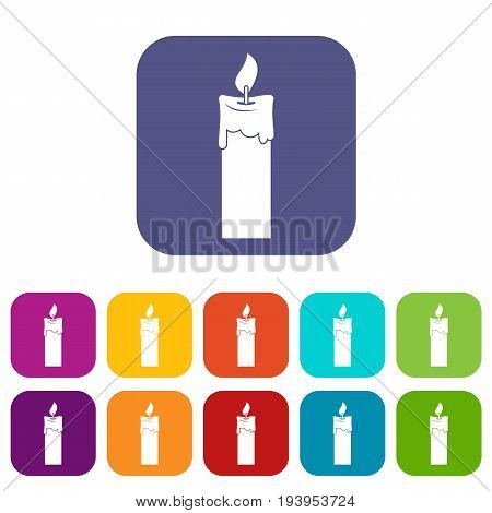 Candle icons set vector illustration in flat style In colors red, blue, green and other