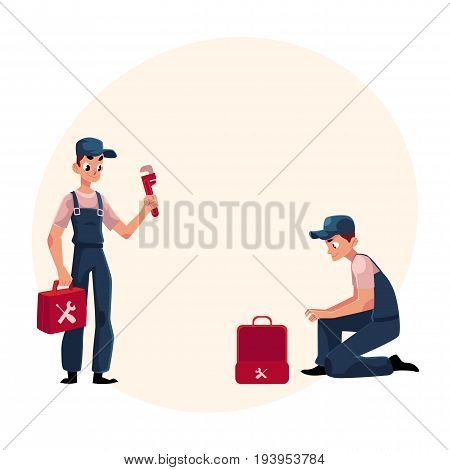 Plumbing specialist at work, repairing sewage pipes, sink, washing machine, cartoon vector illustration with space for text. Plumber, plumbing specialist, repairman at work, fixing