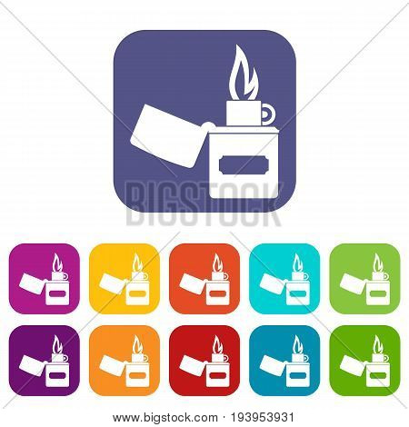 Lighter icons set vector illustration in flat style In colors red, blue, green and other