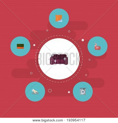 Flat Icons Washcloth, Foam, Towel And Other Vector Elements. Set Of Hygiene Flat Icons Symbols Also Includes Sponge, Foam, Soap Objects.
