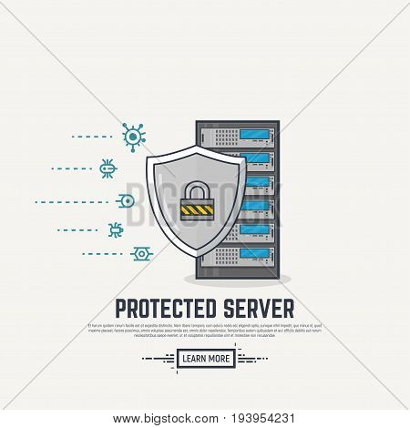 Server with shield protection. Viruses and spam or ddos attack on server. Thick lines and flat style illustration. Server with display and abstract lines. Protection concept. Shield and padlock.
