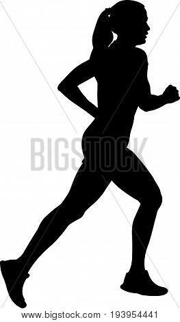 girl athlete runner running side view black silhouette