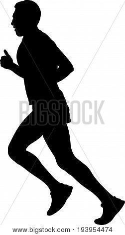 male athlete runner running side view black silhouette