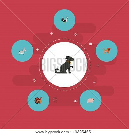 Flat Icons Gobbler, Rooster, Panther And Other Vector Elements. Set Of Zoo Flat Icons Symbols Also Includes Swine, Rooster, Hound Objects.