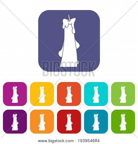 Dropped candle icons set vector illustration in flat style In colors red, blue, green and other