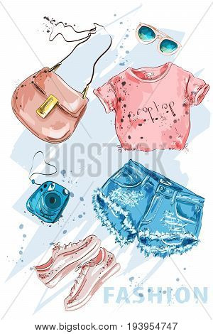 Fashion outfit. Stylish trendpy clothing: shorts, crop top, bag, shoes, sunglasses and photo camera. Fashion summer girl clothes set, accessories. Woman's fashion look. Sketch. Vector illustration.