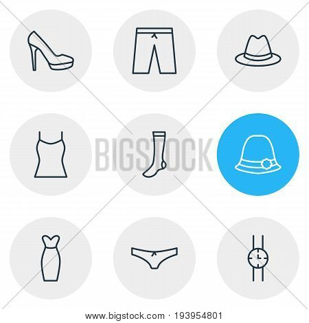 Vector Illustration Of 9 Clothes Icons. Editable Pack Of Fedora, Panama, Sandal Elements.