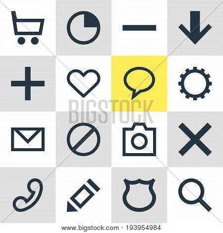 Vector Illustration Of 16 Member Icons. Editable Pack Of Talk Bubble, Stopwatch, Pen And Other Elements.