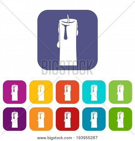 One candle icons set vector illustration in flat style In colors red, blue, green and other