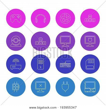 Vector Illustration Of 16 Notebook Icons. Editable Pack Of Router, Qwerty Board, Keypad And Other Elements.