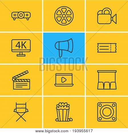 Vector Illustration Of 12 Film Icons. Editable Pack Of Loudspeaker, Coupon, Megaphone And Other Elements.