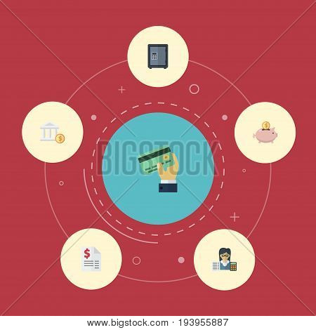 Flat Icons Moneybox, Safe, Duty And Other Vector Elements. Set Of Recording Flat Icons Symbols Also Includes Vault, Accumulation, Saving Objects.