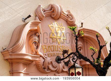 RASTATT GERMANY - APR 13 2017: Braustubl brewery pub with Star of David above entrance in german city of Rasttat
