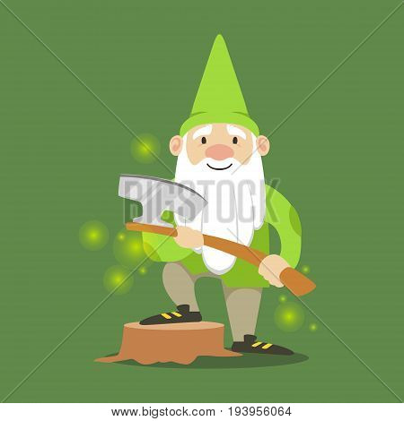 Cute dwarf in a green jacket and hat standing with axe vector Illustration on a green background