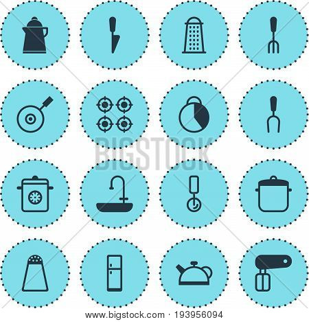Vector Illustration Of 16 Restaurant Icons. Editable Pack Of Kitchen Dagger, Pepper Container, Timekeeper And Other Elements.