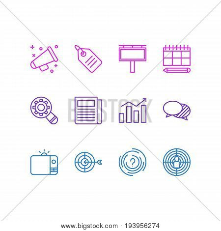 Vector Illustration Of 12 Marketing Icons. Editable Pack Of Advertising Billboard, Announcement, Schedule And Other Elements.